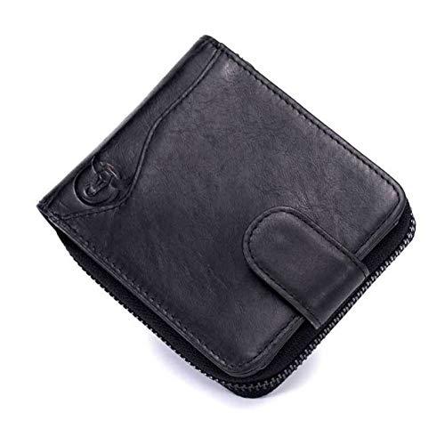 MEARYLOVE Herren Brieftasche Leder Multi-Karte Seat Orgel Reißverschluss Führerschein Brieftasche, Premium Qualität Echtes Leder Brieftasche Handwerkskunst (Color : Black, Size : S-B) -