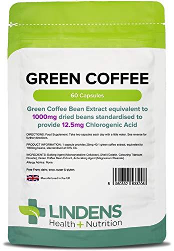 Lindens Café verde 1000 mg en cápsulas | 60 Paquete | Estandarizado para aportar 12,5 mg de ácido clorogénico, cápsulas de liberación rápida que permiten una rápida absorción del cuerpo