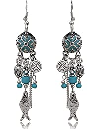 Sansar India Oil Painting Turquoise Beads Fish Flower Tassel Dangle Earrings for Girsl and Women…