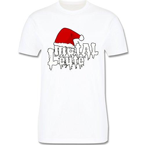Weihnachten - Metal Leute - Weihnachtsmütze - L190 Herren Premium Rundhals T-Shirt Weiß