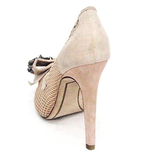 Sam Edelman alla moda, Peep Toe, tacco, con pietre e punte, misura 9 Marrone (Natural)