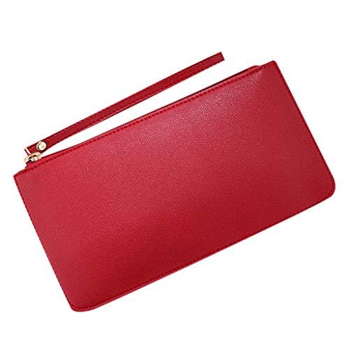 Portemonnaie Damen Geldbörse Karten Halter Geldbeutel Wölbungs Kreditkartenetui RFID Schutz Kartenhalter Geldbörse Damen Leder Damen Geldbörse aus Kartenhalter süß kleine (rot) -
