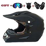 ZNDDB motorradhelm Set - Roller/Motocross-Helm, All Seasons Universal (mit Brille + Handschuhe + Maske), ABS-Material, Herren/Damen,A,L