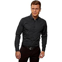 oodji Ultra Hombre Camisa Estampada con Cuello Doble, Negro, 39cm/ES 46/S