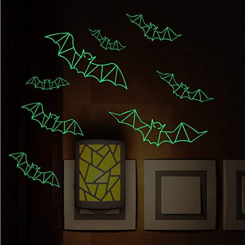 Sjxwol adesivi murali pipistrelli luminosi halloween diacali decorazioni per la casa poster luce notturna camera da letto adesivo fluorescente adesivi murali murali