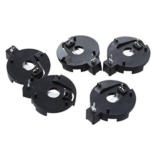 TOOGOO(R) CR2016 2025 2032 Piece Pile Bouton Batterie Douille de suopport Noir 5 Pcs