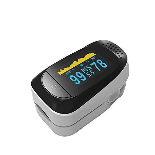 MUYIER Oximeter, Pulsmesser zur Schlafüberwachung Fingerclip-Oximeter mit Lanyard-Pulsoximeter Zweifarbiges OLED-Display,White -