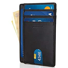 PLATINO Astuccio carte di credito in nero con scomparti rafforzata in pelle raffinata