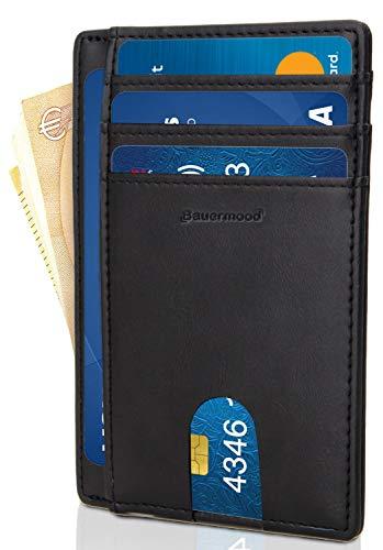 Portafoglio uomo slim 2020 - bauermood® - mini portafoglio uomo piccolo sottile - porta carte di credito - porta tessere uomo slim minimalista - nero - ottima pelle di qualità & scatola regalo inclusa