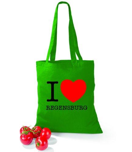 Artdiktat Baumwolltasche I love Regensburg Kelly Green
