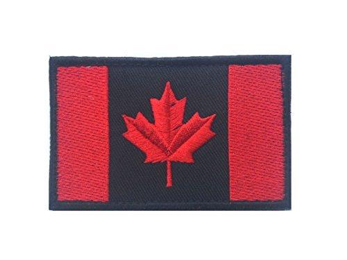 Minkoll Kanadische Flagge, Kanada Ahornblatt 2x3 Militär Moral Patch (schwarz mit rot)
