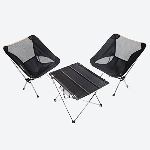 QIANGDA Camping Pliante Table Chaise Ensemble De 3 Pièces Alliage D'aluminium Multi-Fonction Poids Léger Portable Pêche, M/L Optionnel (Taille : M)