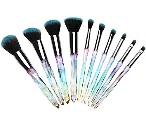 Luxspire 10PCS Professional Makeup Brush, Shiny Crystal Wand Handle Make Up Brushes Set Kabuki Foundation Powder Brush Concealer Brush Eye Brow Brush Cosmetic Brush Set Makeup Tool - Clear Blue -
