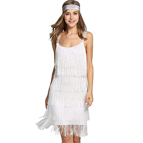 ilovgirl Women es Flapper Dresses Vintage 1920er V Neck Beaded Fringed Lace Tassels Hem Flapper Great Gatsby Dress (XL=EU40, Weiß)