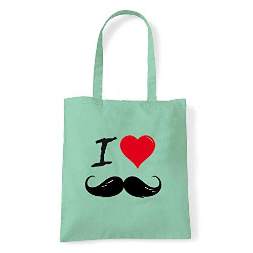 Art T-shirt, Borsa Shoulder I Love Mustache, Shopper, Mare Menta