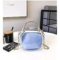 LridSu Bolso Clutch Bolso Transparente Simple Bolso Transparente Transparente de Moda Bolso de Mujer Jalea Caramelo Color Cadena Bolso de Hombro (Negro) (Color : Sky-Blue, tamaño : 18x8x18cm)