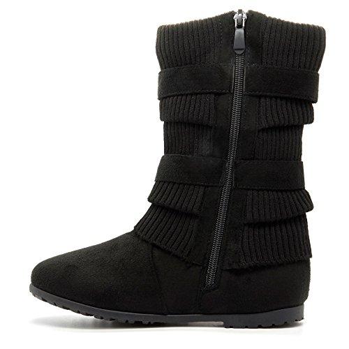London Footwear ,  Damen Kurzschaft Schlupfstiefel Schwarz