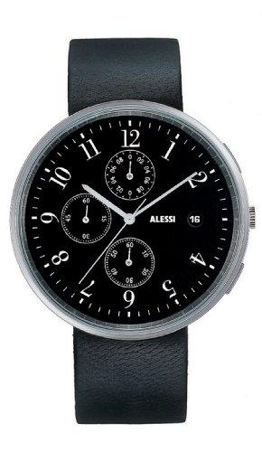 Alessi AL6021 - Reloj para hombres, correa de cuero color negro