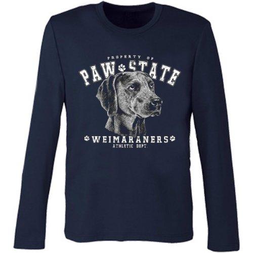 Marken Langarmshirt - Motiv Paw State - Weimaraner - cooles Langarm Shirt Geschenk Herren Weihnachten Geburtstag Navy-Blau