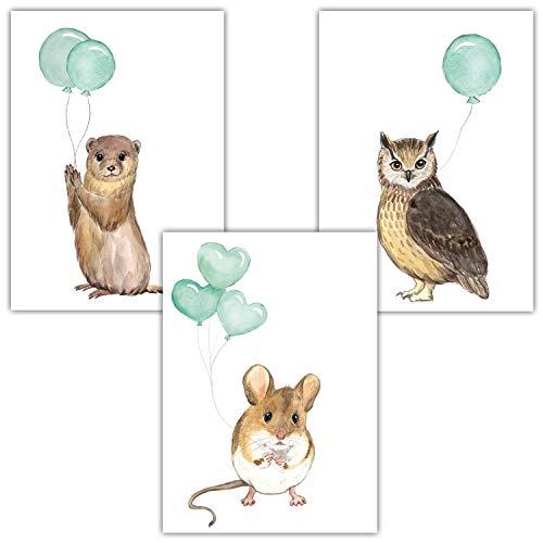 Frechdax® 3er Set Kinderzimmer Poster Baby Bilder DIN A4 | Waldtiere Safari Afrika Tiere Tierposter Luftballon Ballon Farbwahl (3er Set Mint, Eule, Maus, Otter)