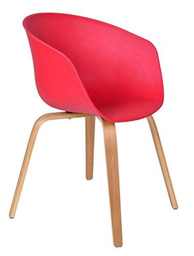 ts-ideen 1x Design Stuhl Wohnzimmer Esstisch Küchen-Tisch Esszimmer Sitz in Rot