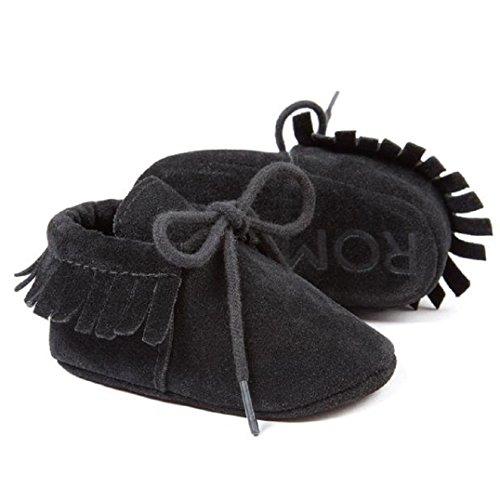 Fulltime® Lit bébé Glands Bandage souple Sole Sneakers Chaussures enfant Noir