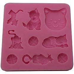 joyliveCY color al azar 3d gato chocolate candy Jelly Fondant Cake Herramientas molde de silicona molde para hornear Bakeware