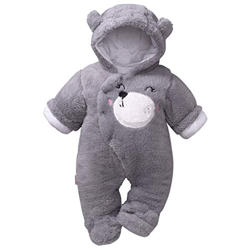 Baby mit Kapuze Strampler Winter Overall Flanell Outfits Jungen Mädchen Pyjama SäUgling Spielanzug Footies Outwear Grau 6-9 Monate