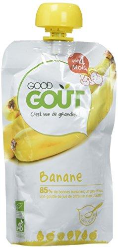 Good Goût - BIO - Gourde de Purée de Fruits Banane dès 4 Mois 120 g - Pack de 8