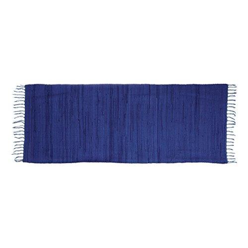 Relaxdays–Alfombra de corredor con flecos azul 80x 200cm 100% algodón uni alfombra de salón, azul