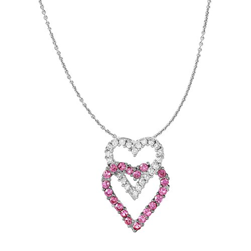 Damen 0.85ctw Diamant und Saphir 14K Weiß Gold Halskette (Blauen Saphir-gold-halskette)