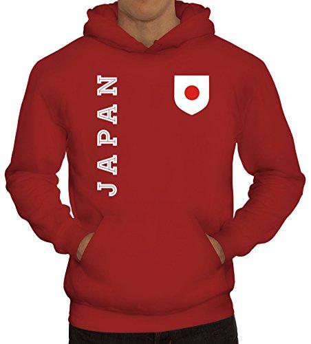 Wappen Fußball WM Fanshirt Gruppen Herren Hoodie Männer Kapuzenpullover Fan Trikot Japan, Größe: XL,Rot