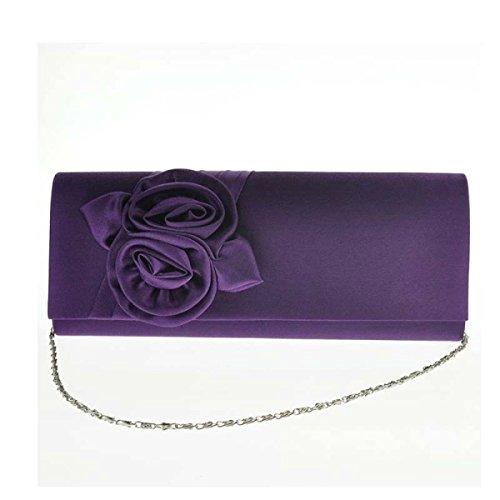Frauen Rosen Elegante Handtasche Abendtasche Hochzeit Tasche Purple