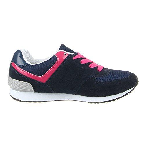 Femme chaussures de loisir à 358–8813W b Bleu - Blau Pink