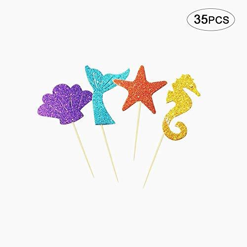 Snner 35pcs Kuchen-Deckel-Glitter-Nixe-Partei-Dekor-Partei-Bevorzugungen für Kinder Geburtstag