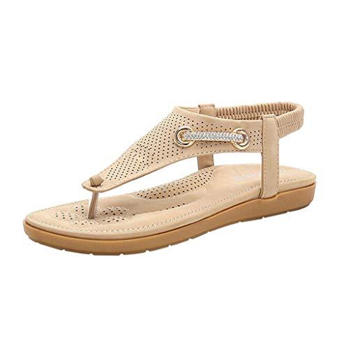 Fenverk Sandalen Damen Sommer Flip Flops Bohemian Flach Zehentrenner Mit Strass Sandals, Frauen Sandaletten Pu Leder Beige, Pink, Schwarz 35-41(Beige B,38 EU)