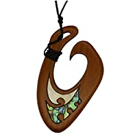 Maui Maori Fish Hook Pendant, Hand Carved in New Zealand from Native Rimu Wood with Paua Inlay