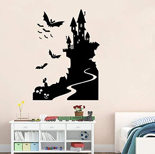 qwerdf Wandsticker Halloween Bat Castle Und Haunted Haus Aufkleber Halloween Party Wall Ticket Hintergrund-Schule Und Shop 79 * 58cm