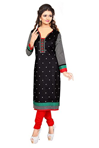 Nakoda Creation Women's Unstitched Cotton Black Printed Kurti Fabric (Fabric only for...