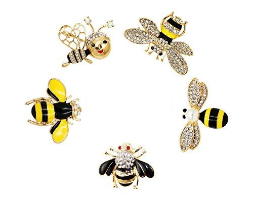 Set von 5Fashion Emaille Kristall Strass Bee Mottoparty Brosche Pin für Kleidung Kragen Kleid Schal Dekoration