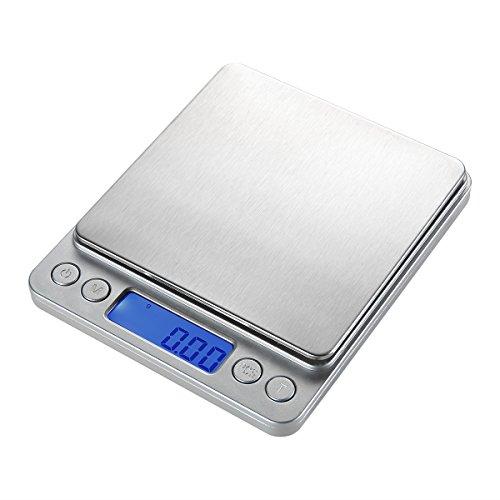 YESDA Digitale Küchenwaage, Briefwaage, Hohe Präzision auf bis zu 0,01g (500g Maximalgewicht), Tara-Funktion,LCD-Display Inkl. Batterie