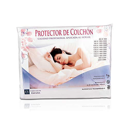 Protector de Colchón Impermeable de Algodón 105x190/200 cm, Transpirable y anti ácaros, Funda Cubre colchón antiescaras, Cubrecolchon para cama, fabricado en España. Apto Lavadora y Secadora