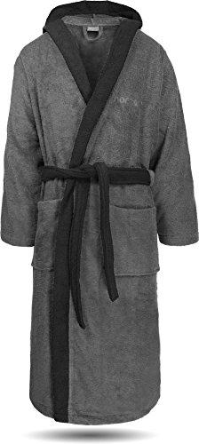 Bademantel 100% Baumwolle mit Frottee I - Öko-Tex 100 - Premium Qualität by normani® Farbe Grau/Schwarz Größe L