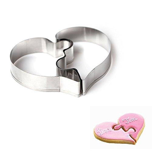 wdyjmall Puzzle Ausstechform Herz Edelstahl Kuchen Form Backen Biscuit Form