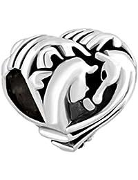 Korliya Abalorio para pulsera con forma de corazón de caballo