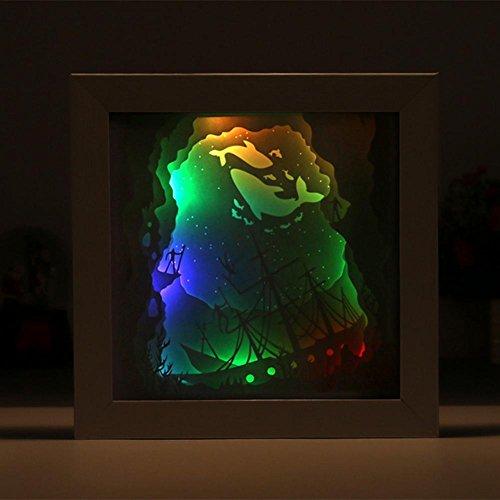 OOFAY LIGHT® Kreative 3D Segelboot Papier geschnitzt Lichter dekorative Nachtlichter Licht schickte ihre Freund Geburtstagsgeschenk Freunde, Acryl-Fernbedienung (Fernbedienung Segelboot)