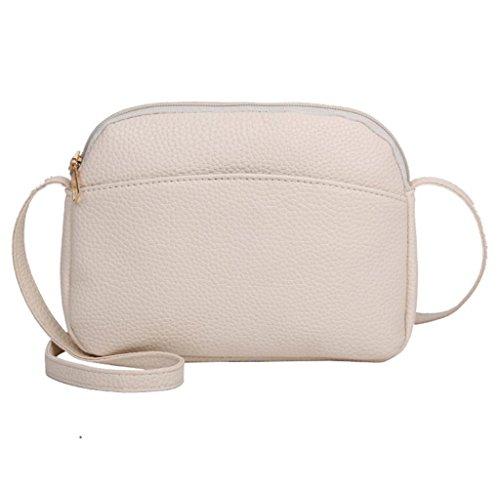 Tomatoa Retro Lady Pure Leder Single Umhängetasche Damen Umhängetasche Handtasche Schultertasche Messenger Bag (Beige) (Beige Pure Lippenstift)