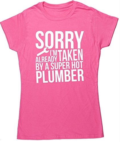 hippowarehouse-sorry-im-already-taken-by-a-super-hot-plumber-womens-fitted-short-sleeve-t-shirt