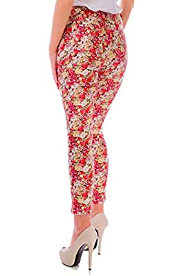 Women's High Waisted Ankle Skinny Denim - New Cropped Floral Print Stretch Sexy Casual Summer Ladies Bottoms Pants Jeans Trousers In Size 8, 10, 12, 14 and Colour Pink - 100% Money Back Guarantee!