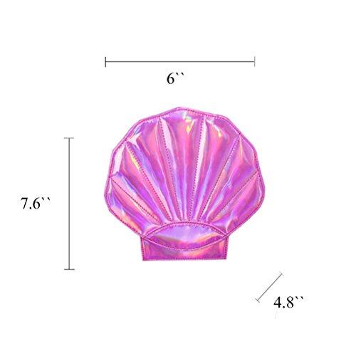 Honeymall Damen Hologramm Schale Perle Clutch Abendtasche Handtasche Umhängetasche(Pink) Rose